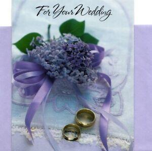 Congratulations Wedding Gold Rings Purple Flowers Theme Hallmark Greeting Card