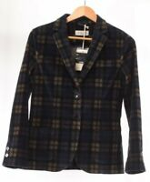 Circolo NWT Blazer Size 46 in Blue/Tan/Black Multi Plaid $550