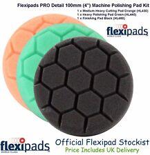 "Flexipads Hex Pro 100mm 4"" Cut Compound Polish Finish Detail 3 x Foam Pads"