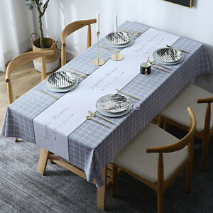 Wipeable Waterproof PVC Kitchen Table Cloth Oil-Proof Tablecloth Outdoor/Indoor