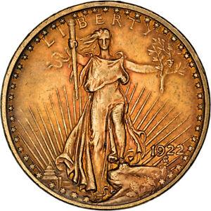[#841463] Coin, United States, Saint-Gaudens, $20, Double Eagle, 1922, U.S. Mint