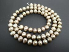 """Freshwater Pearls Champagne Beige Color Almost Round 6mm x 5mm Beads Strand 16"""""""