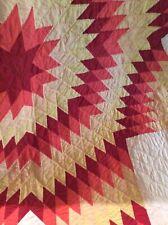 "Vintage MC Hand Made Quilt 80""x80"" Comforter / Bedspread Geometric Blanket"
