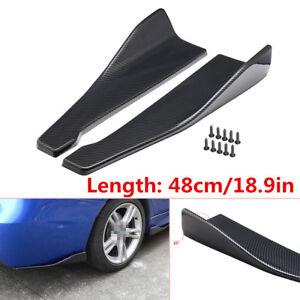 2X Car ABS Bumper Spoiler Rear Lip /Side Skirt Extension Splitters Winglet Wings