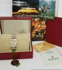 Ultra Clean 69173 Ladies Rolex Datejust 18k Gold Steel Watch Box Papers Tags