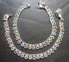 Silver Plated Indian 10'' Meena stone Anklet Indian Style Chain Women Jewelry b