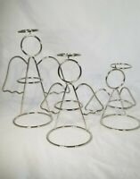 Metal Wire Angel Candle Holders Silver Toned Set Of 3 Christmas Decor Tabletop