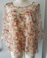 Angie Boho Sheer Layered Mesh Flower Pattern Top Flared 3/4 Sleeves Sz Large