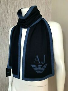 ARMANI JEANS BLUE EAGLE LOGO SCARF MADE IN ITALY BNWT