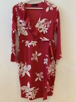 PINK WHITE FLORAL DRESS PETITE FRILL 8 WORK HOLIDAY FASHION SUMMER CUTE WINTER