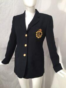 Lauren Ralph Lauren 4P Blazer Jacket Crown Chest Patch Gold Ornate Buttons Wool