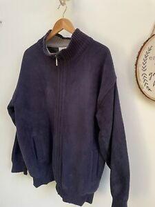 Mens BAR HARBOUR Navy Lined Zip through Cardigan Knitted Coat - Size XL