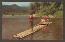 POSTCARD:  NATIVE RAFTSMAN ON THE RIO GRANDE RIVER, NEAR  PORT ANTONIO, JAMAICA