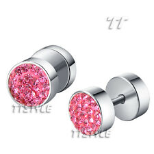 TT Surgical Steel Crystal Round Fake Ear Plug Earrings A Pair Body Piecing(BE87)