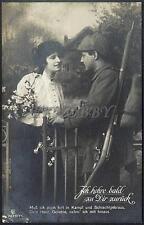 AK Postcard 1916 Army Soldiers Romance Armee Soldaten Woman Feldpost WWI (23)