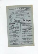 Chester City v Darlington Football Programme 1958/59