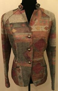Coldwater Creek Womens Military Blazer Size 10 Gray Retro Nubby Stand-Up Collar