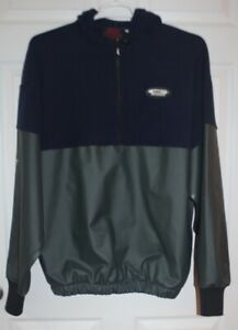 Grundens heavy fleece & PVC hoodie size XL blue/green Fishing Pullover 1/4 zip