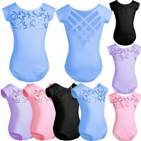 Girl Kids Toddler Ballet Short Sleeve Leotard Dance Gymnastics Jumpsuit Bodysuit
