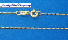 "14K Solid Yellow Gold 0.7mm Box Chain w/ Spring Ring 16"" 1.4grams  Italian made"