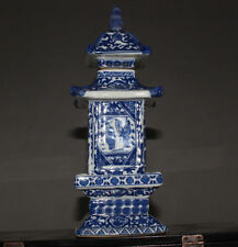 delicate Chinese Jingdezhen ancient pagoda blue and white porcelain vase  HP06