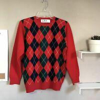 The Scotch House Pringle Scotland VTG Red Argyle Crew Neck Lambswool Sweater S/M