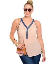 NEW..Plus Size Stylish Pink with Denim Trim Racer Back Singlet Top..Sz16/2xl