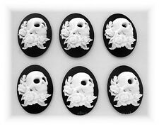 & Tattoos on Black 25mm x 18mm Cameos 6 Goth Punk Zombie White Skull w/ Roses