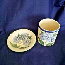 Strawtown Pottery Small Crock and Plate Blue Hydrangeas 2002 Strawtown Indiana