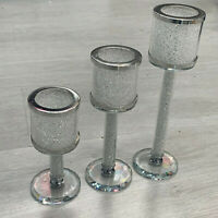 3 Piece Of Crushed Diamonds Crystal Blingy Candle Holder Romany Italian Style