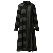 ZANZEA 8-24 Women Plus Size Button Up A-Line Kaftan Boho Midi Stripe Shirt Dress