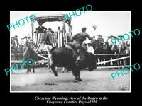 OLD HISTORIC PHOTO OF CHEYENNE WYOMING, THE RODEO AT FRONTIER DAYS RODEO c1920