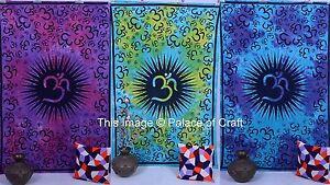 Indian Handmade Om Mandala Wall Hanging Tapestry Throw Cotton Wall Decor Sheet