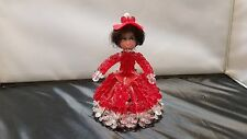 Vintage Safety Pin Beaded Girl Figurine Vintage Red White Beaded Doll Figurine