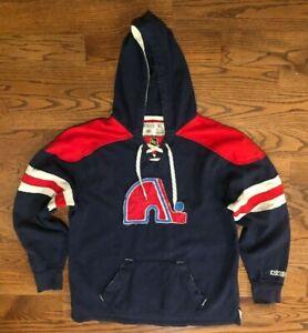Quebec Nordiques Hockey NHL CCM Pro Ok'd Lace Up Hoodie Sweatshirt Men's XL