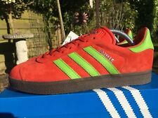 official photos 2f8d0 6429e Adidas Gazelle Red   Green Suede Hamburg Size 8 80s Football Casuals  Deadstock
