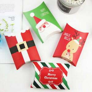 Christmas Gift Boxes Party Favours Sweet Biscuit Candy Treat Pack Pillow Paper