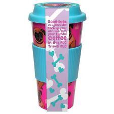 Doug the Pug 16oz Travel Mug Pink Plastic Novelty Cup With Lid