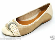 """Clarks ladies """"HENDERSON ICE"""" metallic/gold leather flat shoes size 3.5D.New"""