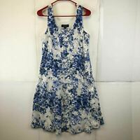 R&M Richards Womens Sleeveless Floral Blue White Fit And Flare Dress Size 14