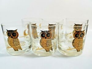 Set of 6MCM Couroc Owls 22kt Lowball Double Old-Fashioned Glasses Whisky Bourbon