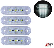 4x White Small Front Side Marker Lights 3 Led Lights Lamp Lorry Trailer 12v 24v