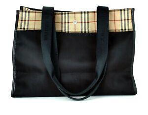 Auth Burberry London Nova Check Nylon & Black Leather Tote Shoulder Bag Purse