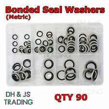 Assorted Box of Bonded Seals Metric Dowty Washers (10mm - 24mm) Qty 90