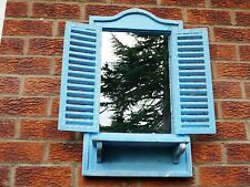 Large French Shabby Chic Antique Vintage Style Blue Wall Shutter louvre Mirror