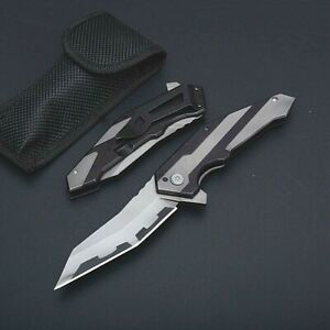 Wharncliffe Folding Knife Pocket Hunting Survival Tactical Carbon Steel Flipper