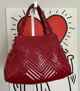 """COLE HAAN Patent Leather """"Laury"""" Large Tote Satchel Handbag in Cranberry Red"""