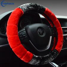 Warm Red Plush Steering Wheel Cover Winter Furry Soft Plush Car Wheel Universal