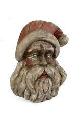 LARGE ORIGINAL GERMAN ANTIQUE WOODEN SANTA CLAUS HEAD CHRISTMAS PRE 1900