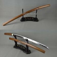 Handmade Hulee wood Shirasaya  Samurai Katana Sword 1060Carbon Steel Blade Sharp